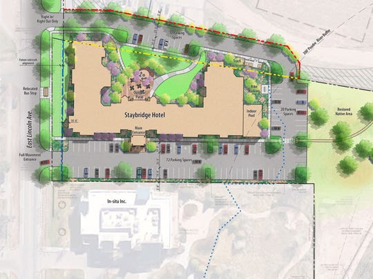 A drawing shows the placement of the proposed Spirit at the River hotel on Lincoln Avenue in Fort Collins.