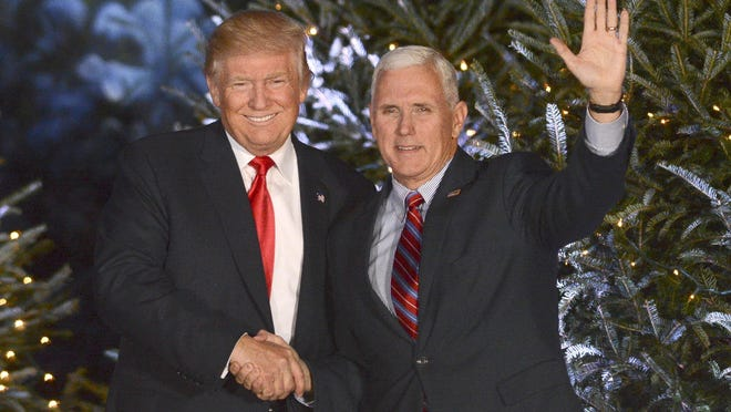 """President-elect Donald Trump and Vice-President Mike Pence appear in Orlando during their """"Thank You"""" Tour on Friday evening."""