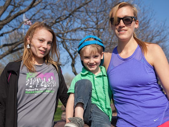 Indy Raymond (left), Grayson Tinkel, and Emma Frappier in Battery Park Wednesday.