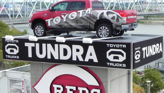 The Cincinnati and Northern Kentucky Toyota dealers have previously donated the Toyota Tundra on display in center field at GABP to local officials.