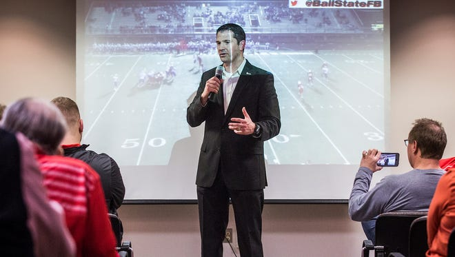 Ball State football coach Mike Neu talks about new recruits at Worthen Arena during Ball State's National Signing Day event Wednesday.