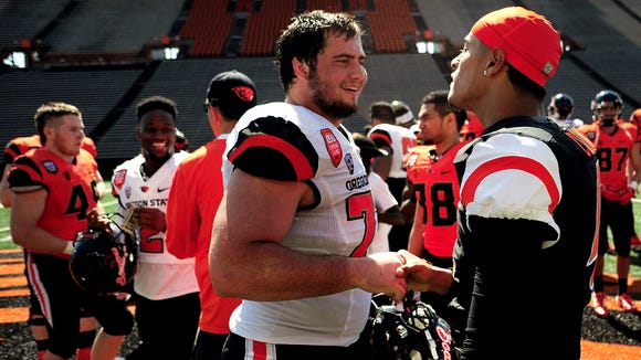 Oregon State offensive tackle Sean Harlow (left) is returning from an ankle injury that prevented him from playing in the last five games of 2015.