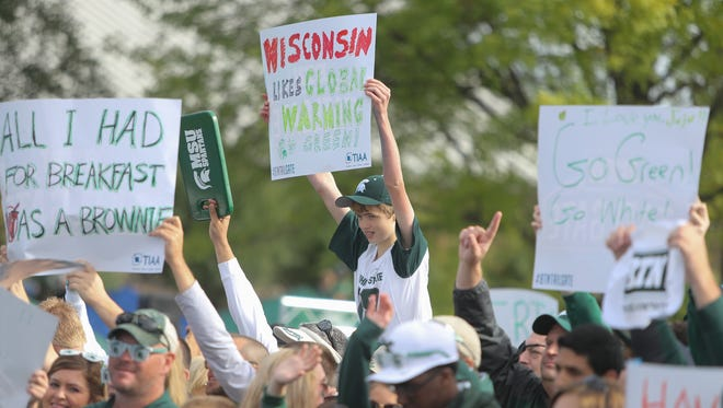 """Michigan State fans gather at the """"BTN Tailgate"""" show Saturday, Sept. 24, 2016, at Spartan Stadium in East Lansing."""