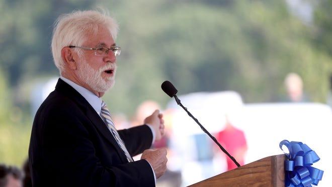 Salem Mayor Chuck Bennett speaks during the grand opening celebration for the Peter Courtney Minto Island Bridge at Riverfront Park in Salem on Wednesday, Aug. 2, 2017.