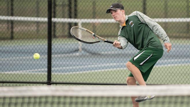 Pennfield junior Landon Saxton during All-City Tennis on Thursday.