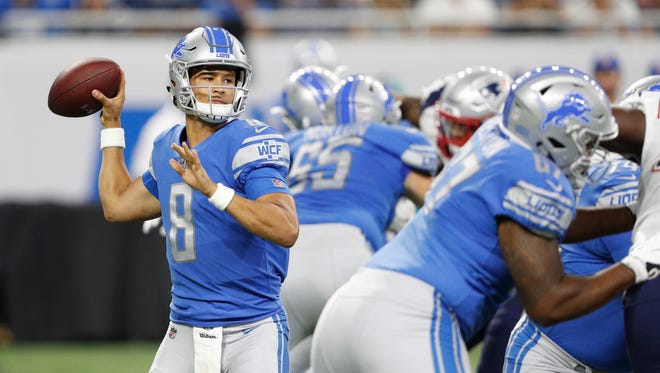 Lions quarterback Brad Kaaya throws the ball during the fourth quarter against the Patriots in an exhibition game at Ford Field on Aug. 25, 2017.