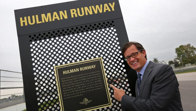 IMS President Doug Boles is excited to visit Hulman Runway as preparations are underway at the Indianapolis Motor Speedway, Friday, Oct. 6, 2017, for the upcoming Red Bull Air Race World Championships.  The spectator bridge was removed over Hulman Blvd. as the strip is turned into Hulman Runway.  The aerobatic flying race will be Oct. 14-15.