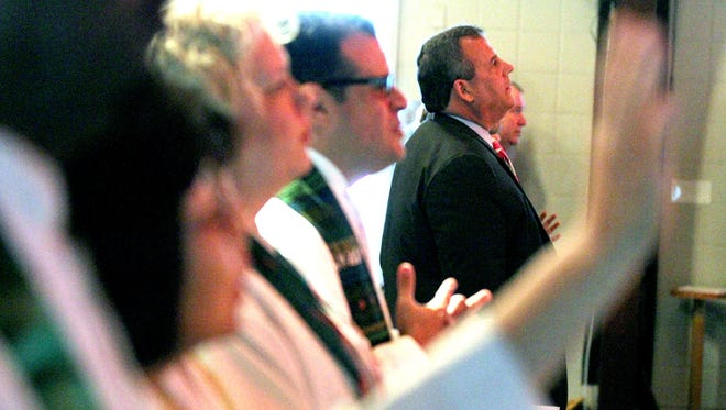 NJ Gov. Chris Christie participates in a 'Day of Prayer' at St. Andrew's United Methodist Church in Toms River Sunday, October 29, 2017.  The Governor's appearance marks the fifth anniversary of superstorm.