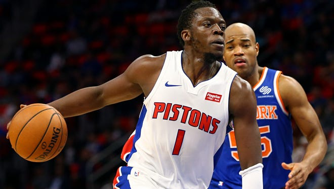 Pistons guard Reggie Jackson (1) controls the ball against Knicks guard Jarrett Jack (55) in the second half of the 104-101 win over the Knicks on Friday, Dec. 22, 2017, at Little Caesars Arena.