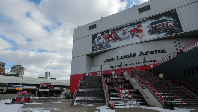 The Gordie Howe entrance of the Joe Louis Arena is seen on Friday February 2, 2018 in downtown Detroit.