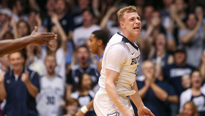 Butler's Paul Jorgensen hypes up the crowd during first-half action between Butler and Creighton on Tuesday at Hinkle Fieldhouse in Indianapolis. Jorgensen finished with 17 points.