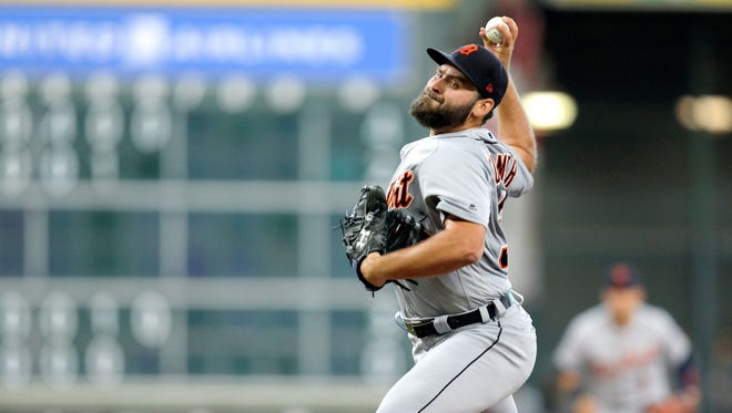Tigers pitcher Michael Fulmer (32) delivers a pitch against the Astros during the first inning on Saturday, July 14, 2018, in Houston.