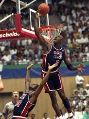In this July 27, 1992, file photo, USA's Michael Jordan