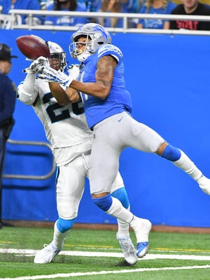 Lions receiver Marvin Jones Jr., right, is averaging 3.6 yards of cushion before the snap this season.