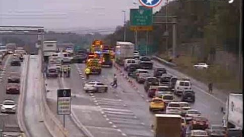 Traffic is backed up after a crash involving up to 30 vehicles on I-24 near Harding Place in Nashville