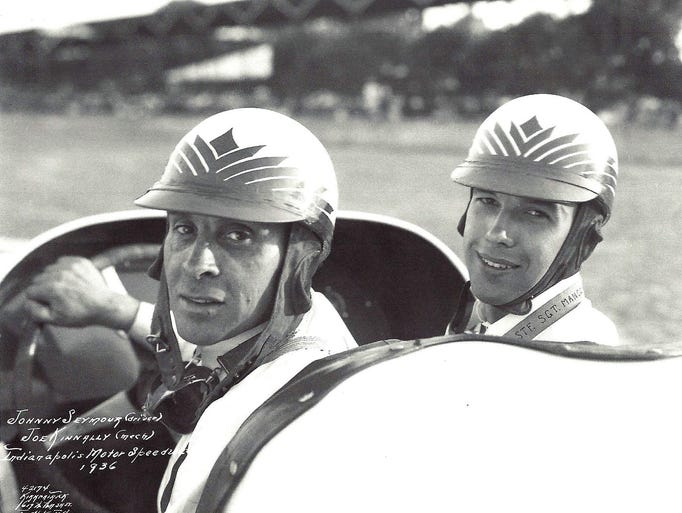 Driver Johnny Seymour, left, with riding mechanic Joe Kennelly (right) at the Indianapolis Motor Speedway in the car entered in the 1936 500 Mile Race. The car dropped out of the race after 13 laps with clutch failure.