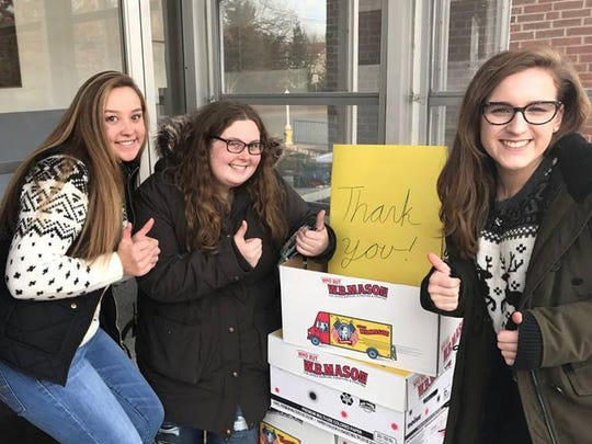 Participating in Project Gratitude at the Roxbury Fire Department are, left to right, Hailey Worner, Amanda Faroldi, and Julia Viparina.
