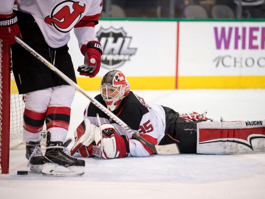 Jan 4, 2018; Dallas, TX, USA; New Jersey Devils goalie Cory Schneider (35) reacts to giving up a goal to Dallas Stars center Tyler Seguin (not pictured) during the second period at the American Airlines Center.