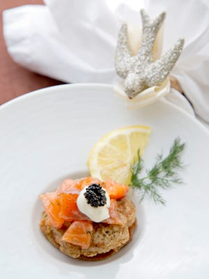 (Combo cut please!) Susan Mayer's appetizer, Gravlax tartare with blini and caviar for her Top Chef meal, as seen in Phoenix on April,15, 2014. Credit: John Samora/ Arizona Republic