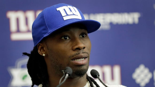 In this May 25, 2017, file photo, New York Giants cornerback Janoris Jenkins speaks to reporters during the team's organized team activities at its NFL football training facility, in East Rutherford, N.J.