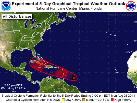 A system has a high chance of becoming a tropical cyclone within five days (Source: National Hurricane Center)