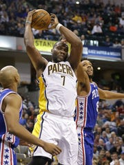 Indiana Pacers center Al Jefferson pulled a rebound away from Philadelphia 76ers center Jahlil Okafor (8) in a November game.