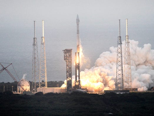 An Atlas V rocket lifts off from Cape Canaveral Air