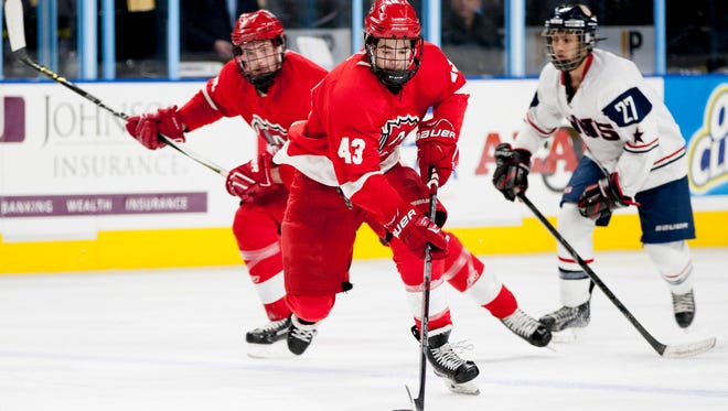 prephockey28 - Arrowhead's Jaxson Carr (43) dribbles the puck during the championship game of the Admirals Cup for high school hockey featuring Arrowhead High School versus WNS Storm at the Milwaukee Panther Arena in Milwaukee, Wisconsin on Wednesday, December 28, 2016. (Calvin Mattheis / for the Journal Sentinel)