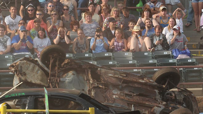 The action was fast and furious during the Demolition Derby at the Wisconsin Valley Fair in Wausau, Sunday, August 3, 2014.