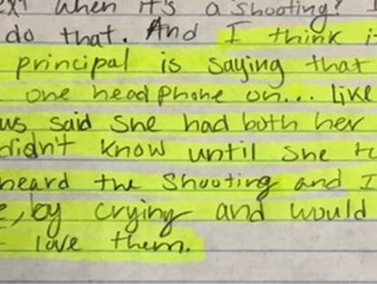 A letter from a Ray High School student to the principal