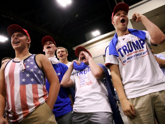 A group of boys from a local high school at a campaign rally for presidential candidate Donald Trump at the the convention center in Charlotte.