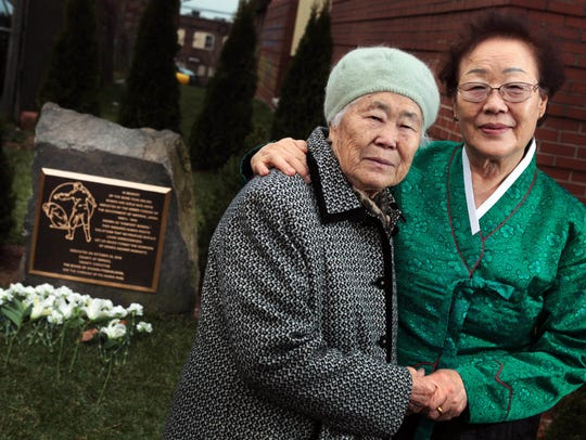 On a visit from Korea, former comfort women Ok-seon