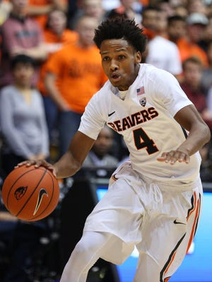 Oregon State guard Derrick Bruce had six points and two assists in a 79-70 victory over Loyola Marymount at Gill Coliseum on Dec. 2, 2015.