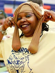 Norma Johnson, of Team Devers, during the first annual Battle of the Bearcat Buildings at William Penn Senior High School in York City, Wednesday, April 4, 2018. Dawn J. Sagert photo