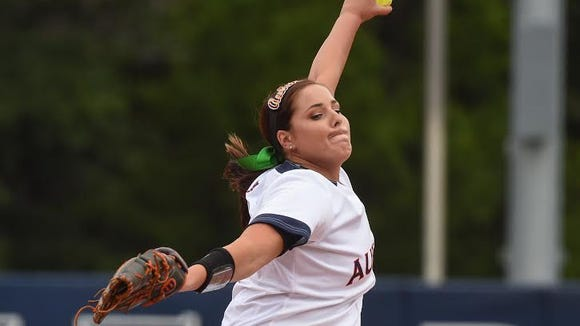 Auburn pitcher Rachael Walters struck out a career high 10 batters in a 2-1 win over Jacksonville State in the opening round game of the NCAA Auburn Regional on May 20, 2016.