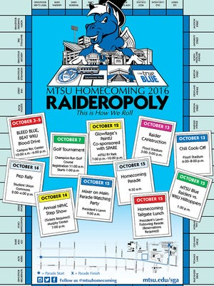 "Featuring ""Raideropoly"" as part of the theme, board games will be utilized during part of MTSU homecoming week activities and among many events leading to the Blue Raiders football game against Western Kentucky at 1:30 p.m. Oct. 15."