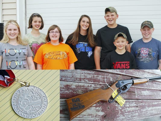 Members of the Palmyra BB Gun Team, who took second place in the nation, include, from left, Gillian Stewart, Hunter Anderson, McKenna Logan, Coral Hetrick, Matt Weaver, Dale Suhr and Nick Suhr.