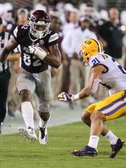 Mississippi State's Farrod Green (82) picks up yardage after making a catch against LSU in last year's matchup.