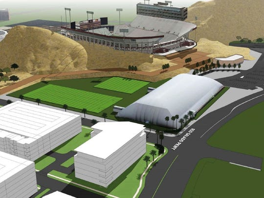 ASU is planning to move the Verde Dickey Dome indoor practice facility and outdoor practice fields next to Sun Devil Stadium.