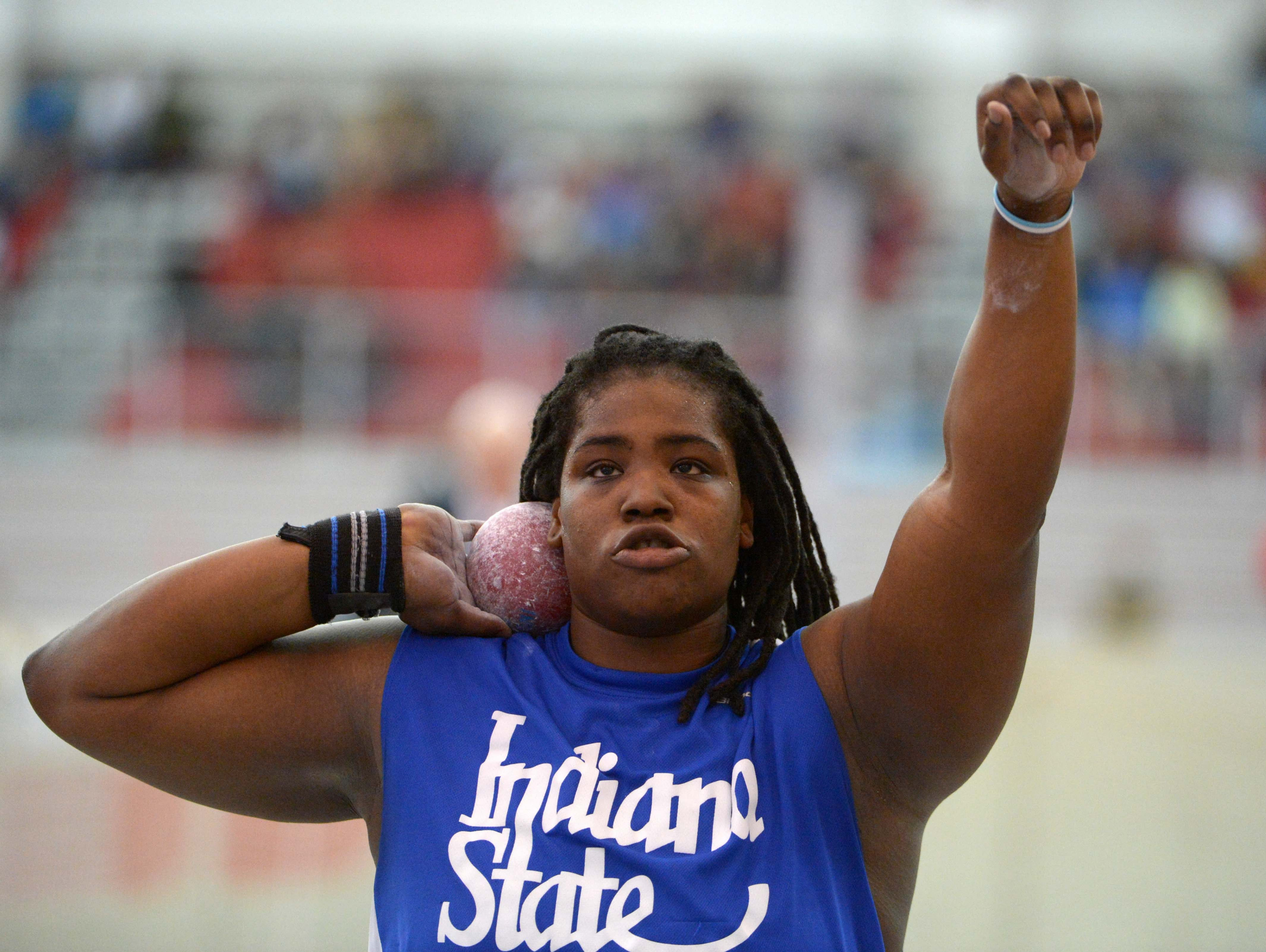 Felisha Johnson of Indiana State places eighth in the womens shot put put at 55-9 (16.99m) in the 2013 NCAA Indoor Championships at the Randal Tyson Center.