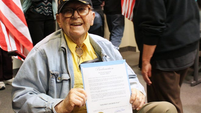 Many Alamogordo residents packed the City Commission chambers to honor Stephen DuBois on his 95th birthday. DuBois served his country during WWII and the Korean War.