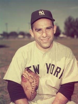 Portrait (circa 1955) of Yogi Berra in his New York Yankees uniform.
