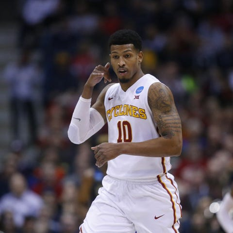 Iowa State's Darrell Bowie reacts after making a...