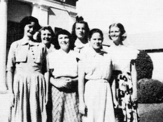 The 1949 Scottsdale High girls tennis team. The names have been lost to history as the yearbook didn't identify them.