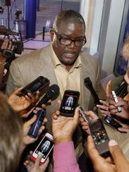 Detroit Pistons president Joe Dumars answers questions