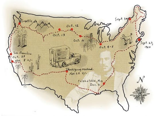 """This whimsical map depicts Steinbeck's route in """"Travels with Charley: In Search of America,"""" originally published in 1962."""