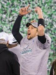 Nick Foles celebrates as the Philadelphia Eagles celebrate