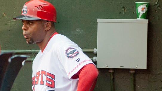 Louisville Bats manager Delino DeShields watches his