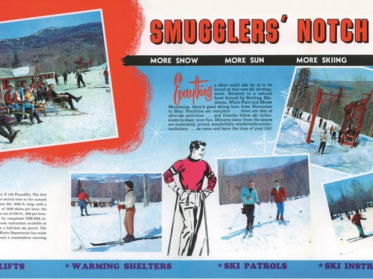 Smugglers' Notch Ski Ways highlighted expanding services for skiers in early promotional brochures in the 1960s.