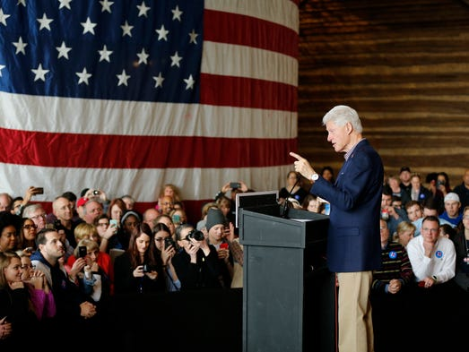 Former US President Bill Clinton speaks during a campaign